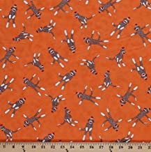orange sock monkey fabric