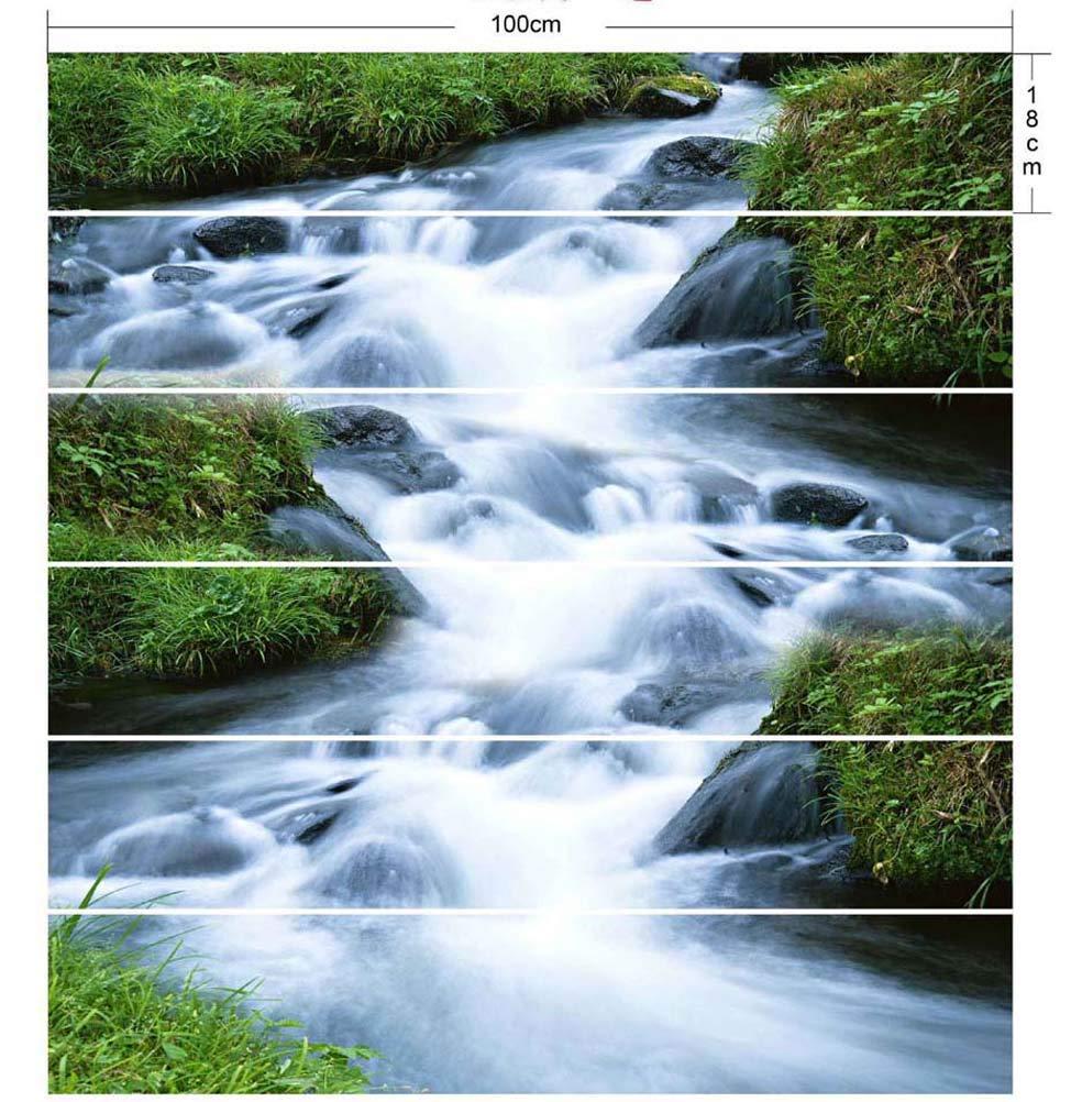 PoJu Escaleras Pasta Stream Agua Simulación 3D Extraíble Impermeable Creativo Pasos Decorativos Pegatinas de Pared Inicio: Amazon.es: Hogar