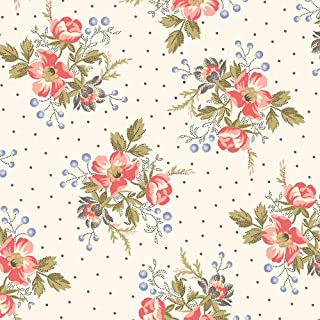 Windham Fabrics Colonial Williamsburg Floral Clusters Linen White Fabric Fabric by the Yard