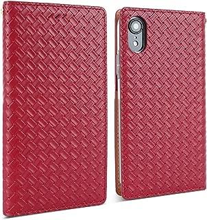 DesignSkin iPhone XR Weaving Leather Flip Folio Wallet Case: 100% Leather That is Genuine Cowhide w/Card Slot & Cash Pocket for Apple iPhoneXR - Red