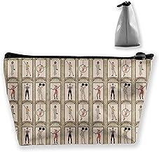 Bolsa de cosméticos portátil vintage de personajes de circo acróbata, dama barbada multifuncional impresión trapezoidal bolsa de almacenamiento para mujer