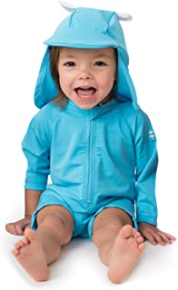 Sunzies One Piece Baby Swimsuit - UPF 50+ Sun Protective Long Sleeve Infant Sunsuit with Hat