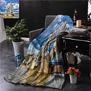 SSKJTC London Fur Throw Blanket Double-Sided Printing British UK Heritage Dorm Bed Baby Cot Traveling Picnic W84 xL70