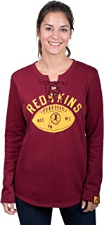 Icer Brands NFL Washington Redskins Women's Fleece Sweatshirt Lace Long Sleeve Shirt, Medium, Maroon