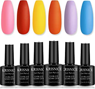 KRISNICE Gel Nail Polish Pink Red Yellow Orange Coral Purple Blue Rainbow Colors Manicure Soak Off UV LED Lacquer Nail Art...