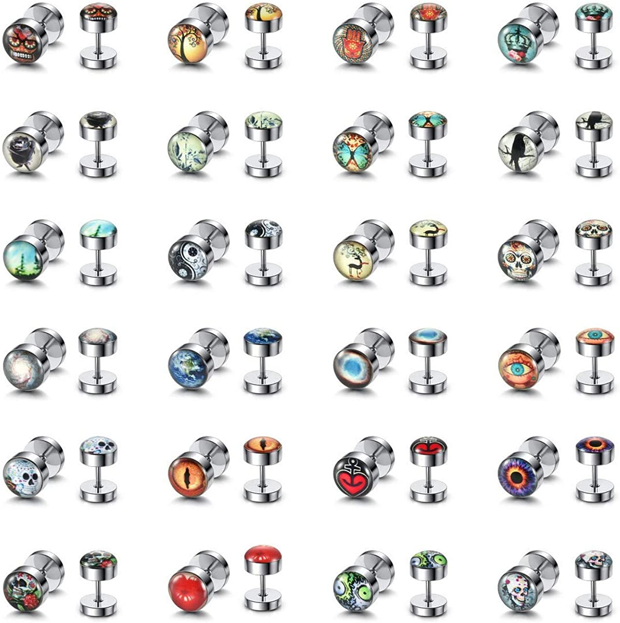 PiercingJ 100% quality 2021new shipping free shipping warranty 24 Pairs Faux Gauges Earrings Satinless Steel Cheater
