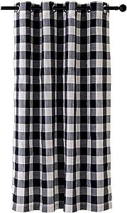 Creativesfun Farmhouse Faux Linen Look Light-Filtering Buffalo Check Grommet Window Curtain (Black & White, Panel 丨W53 X L84-INCH 1PC)
