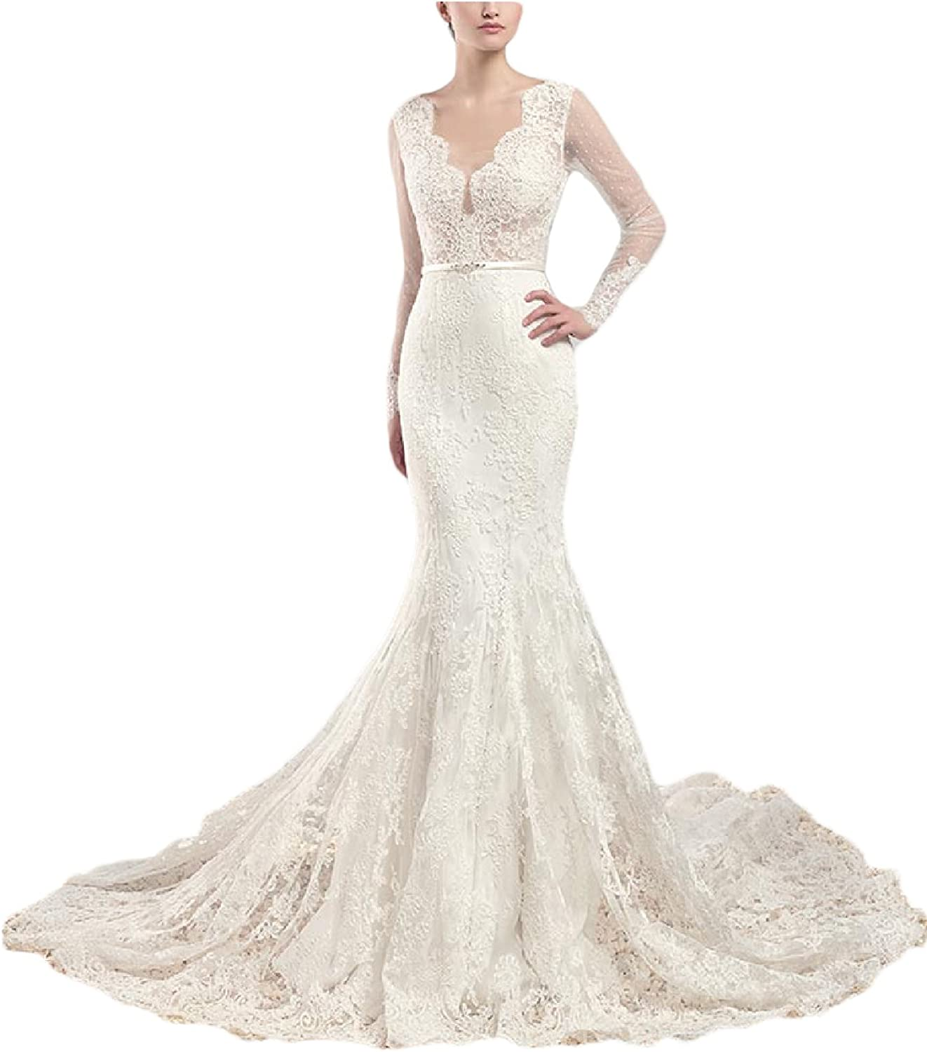YSMei Womens Long Backless Wedding Dress with Sleeves Mermaid Bridal Gown YWD059