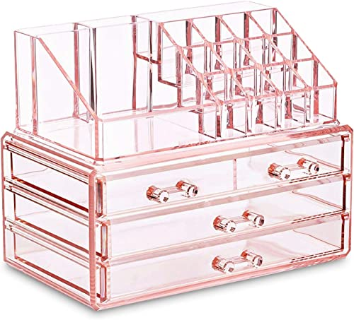 Ikee Design Pink Jewelry & Cosmetic Storage Display Boxes Two Pieces Set, Pink Cosmetic Jewelry Organizer Makeup Hold...