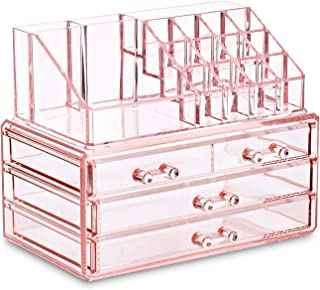 Ikee Design Pink Jewelry & Cosmetic Storage Display Boxes Two Pieces Set, Pink Cosmetic Jewelry Organizer Makeup Holder, C...