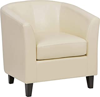 Ravenna Home Sherman Curved Faux Leather Accent Chair, 30.5
