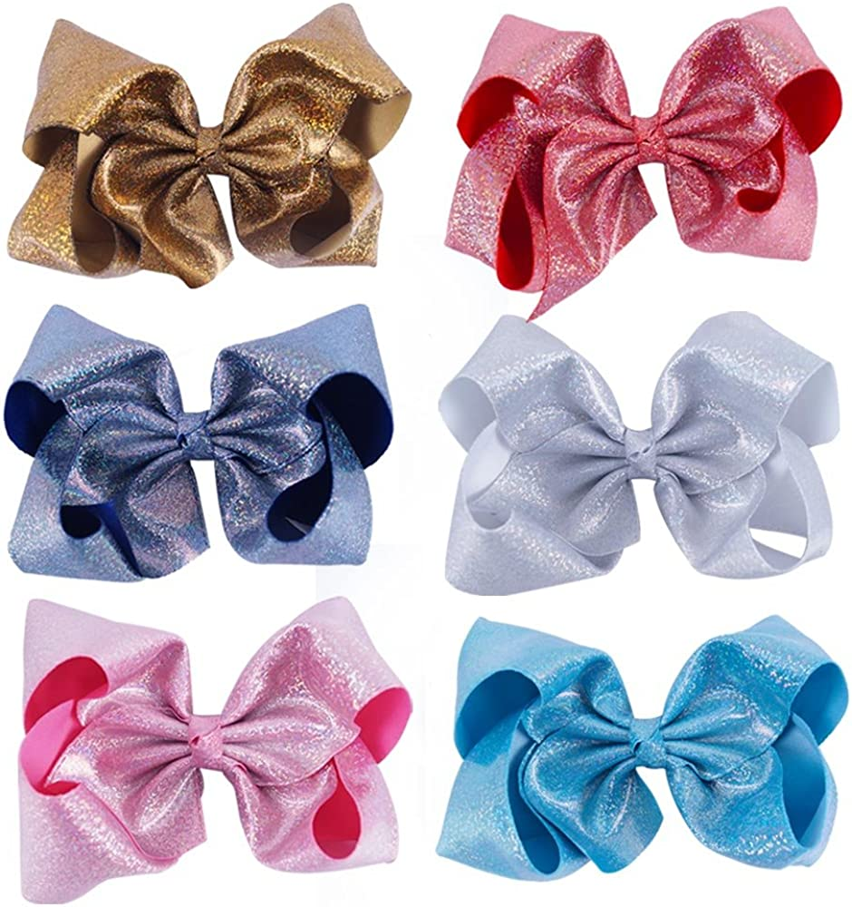 CN Bow For Girls 8 Inch Baby Hair Bows Big Large Sequin Boutique Bows Alligator Clips For Teens Babies Toddlers Children Newborn Kids Teens Pack of 6