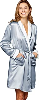 Julianna Rae Women's Cieli Short Robe, Spa Wrap, Fully Reversible Robe, Luxurious Silk Sash, Lingerie
