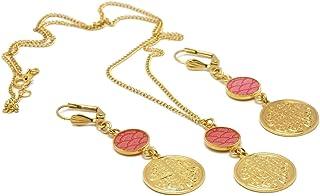 LUCK Ornamento collana fibbie Giappone seigaiha onde mare rosa corallo ottone trifoglio oro 24k riempito 14k resina regali...