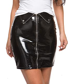 Women's Shiny Liquid Sexy Short Skirts Pencil Skirts Wet Look Skirt Sexy Short Leather Skirt