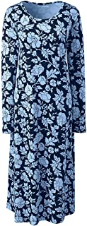 Lands' End Women's Plus Size Supima Cotton Long Sleeve Midcalf Nightgown - Print