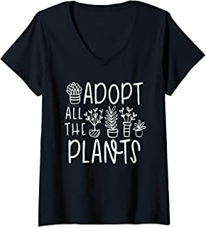 Womens Cute Adopt all the Plants - Funny Plant Lover Saying V-Neck T-Shirt