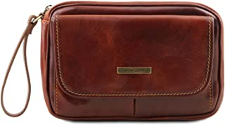 Tuscany Leather Ivan Leather handy wrist bag for man Brown