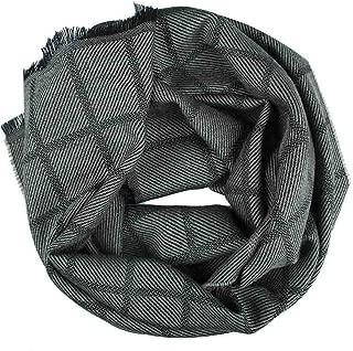MA.AL.BI. Olive Green and Black Check Pure Virgin Wool Scarf 16