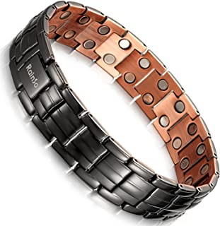 Rainso Mens Matt Gun Black Copper Double Row Magnetic Therapy Bracelets for Arthritis Wristband Adjustable