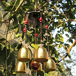 Patgoal Antique Copper 5 Bells Lucky Wind Chimes Outdoor Home Decoration