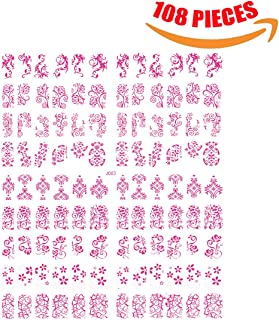 Aosheng 108 Pieces Nail Art Stickers 3D Self-adhesive Multiple Styles Decals For Nail Tip Decorations Gold & Rose