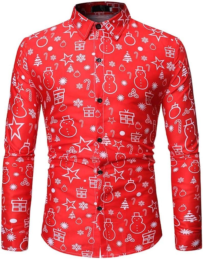 YD-zx Men's Spring Trendy 3D Digital Printing Lapel Dress Shirt Casual Shirt Slim Fit Long Sleeve Button Down Shirts