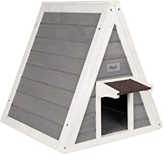 Petsfit Outdoor Triangle Cat House with Escape Door for All Cats, 1-Year Warranty