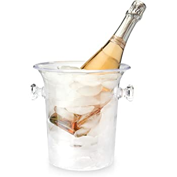 "True Chiller Ice Bucket, Clear 1-Bottle Wine & Champagne Chiller Ice Bucket, 8.25"""