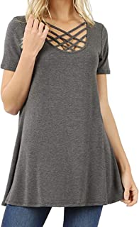 Re.Born Womens Crisscross Lattice Caged Round Neck Loose Fit Tunic Tops [S-3XL]