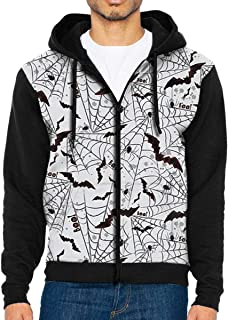 HEHE TAN Mens Pullover Hood Scary Bat & Spider Zip Hoodies Hooded Popular Jackets Coats