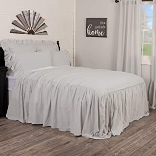 Piper Classics Annabelle Gray Ruffled Bedspread, California King Size Coverlet, Skirted on 3 Sides, Light Gray, Lightweigh...