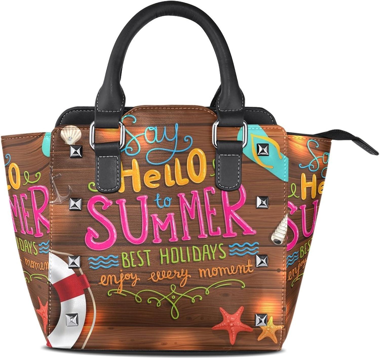 My Little Nest Women's Top Handle Satchel Handbag Say Hello to Summer Ladies PU Leather Shoulder Bag Crossbody Bag