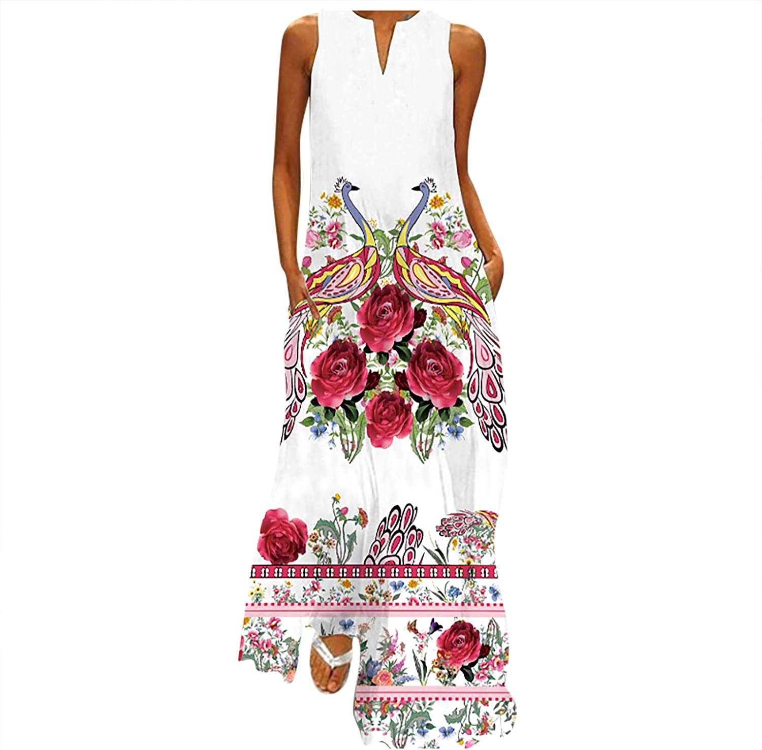 2020 Summer Long Dress for Womens Mlide Tank Top Sunflower Print V-Neck Beach Loose Dress Party Fashion V-Neck Gown