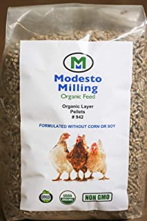 Modesto Milling Organic, Non-GMO Layer Pellets for Chickens, Formulated Without Corn or Soy, 10lbs; Item# 942