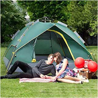 Sallymonday Imported Family Automatic Hydraulic Double-Layer Camping Tent, 2-4 People Instant Pop-up Tent Lightweight Portable Windproof Hiking Mountaineering Travel Beach