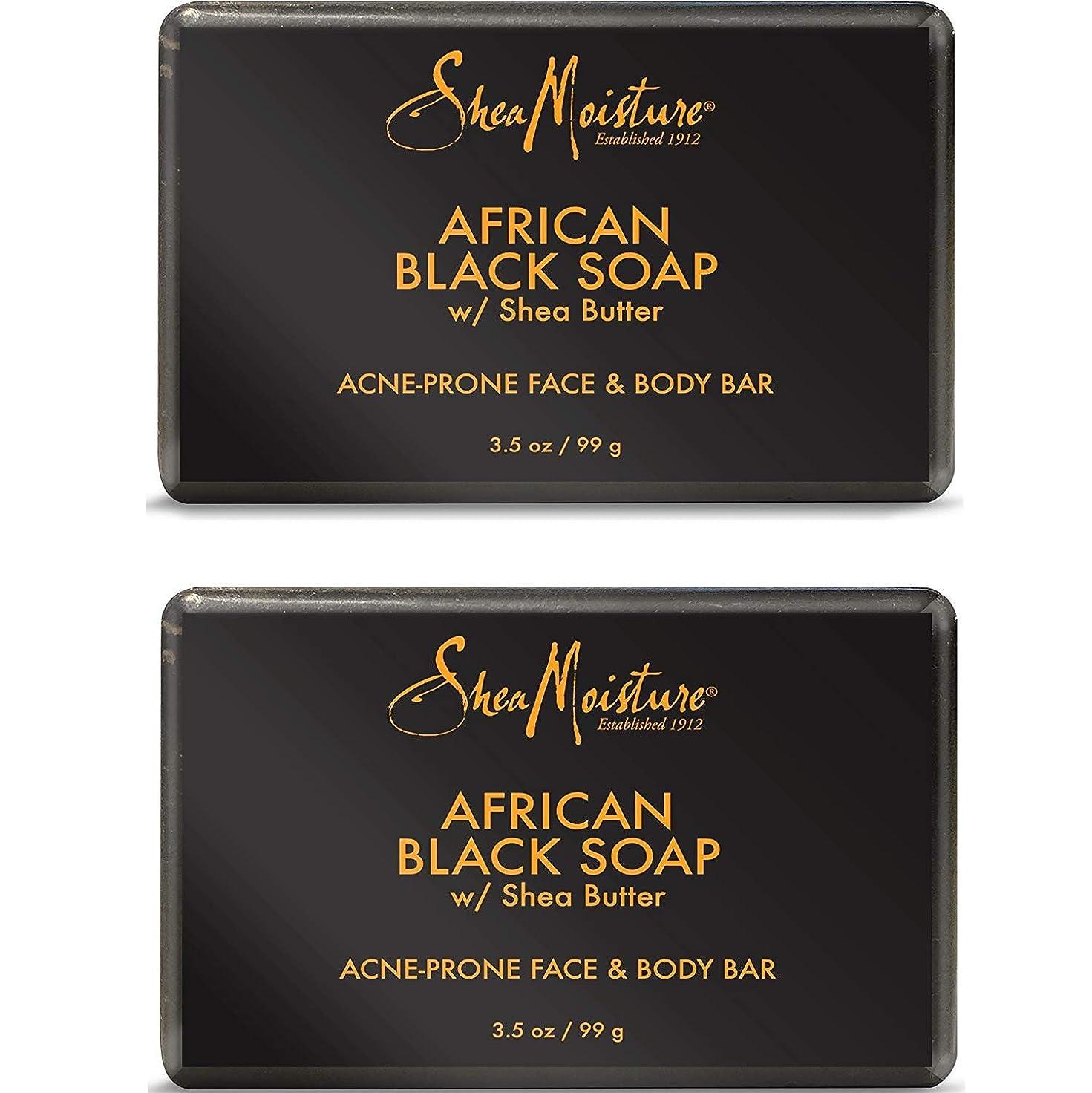 石膏マティス請求可能Shea Moisture アフリカンブラックソープバー、3.5オズ、2パック 2パック