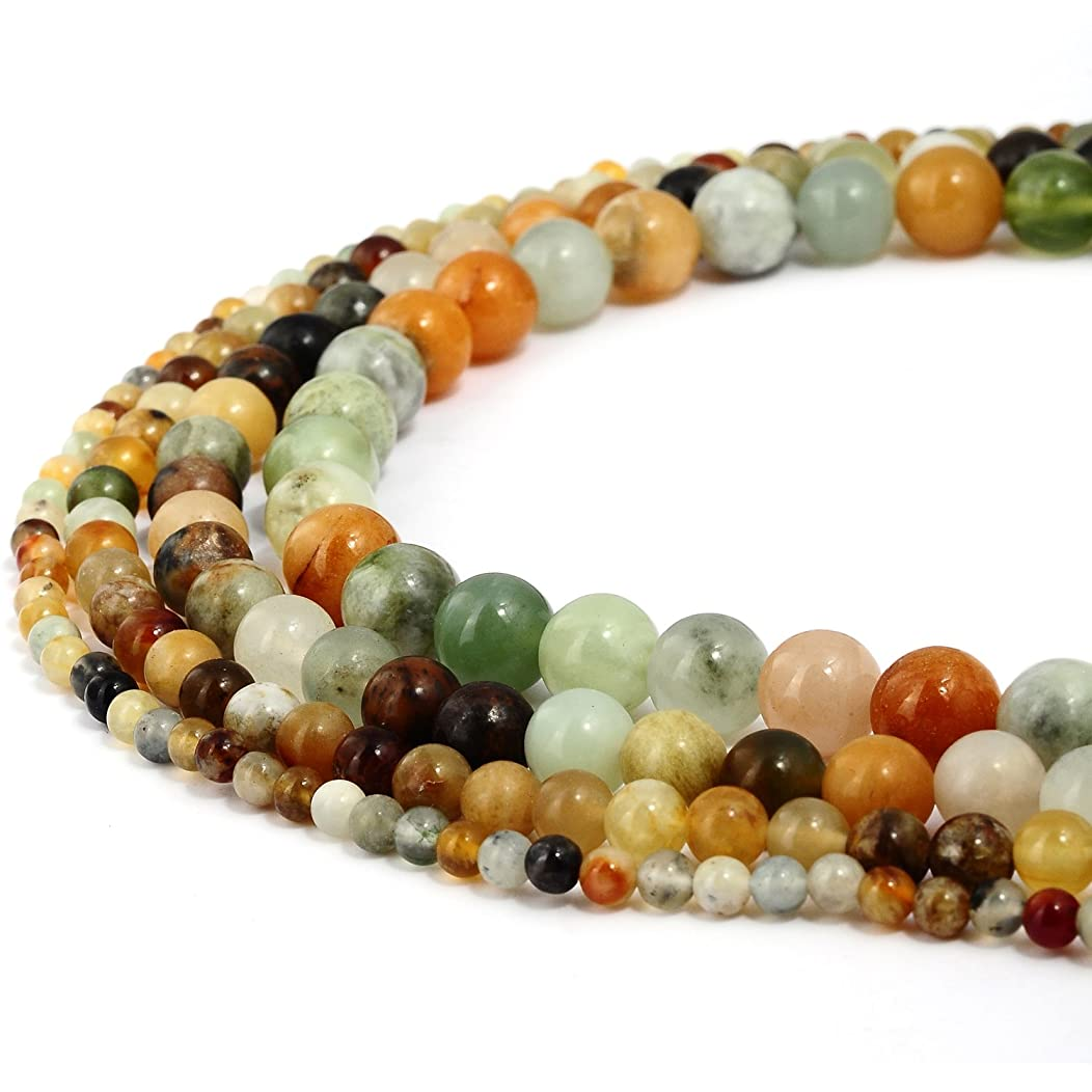 RUBYCA Natural Multi Color Jade Gemstone Round Loose Beads for DIY Jewelry Making 1 Strand - 8mm