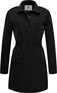 Women's Cotton Lapel Thigh-Length Trench Coat Anorak Jacket with Drawstring