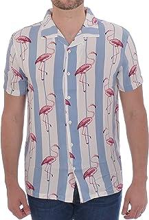 0082297b37 Brave Soul Mens Pink Short Sleeve Flamingo Shirt - White/Blue