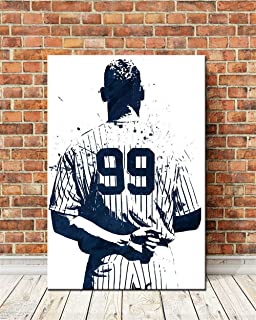 ARTZHU Aaron Judge New York Yankees,Wall Art Home Wall Decorations for Bedroom Living Room Oil Paintings Canvas Prints -186 (Unframed,Framed) (16x24inch(Framed))