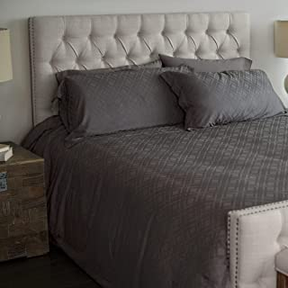 Cariloha Bamboo Jacquard Duvet Cover Set Includes Duvet Cover and Pillow Shams - 3 Degrees Cooler Than Cotton - 100% Viscose from Bamboo (Graphite, Queen)