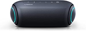 LG XBOOM Go Speaker PL7 Portable Wireless Bluetooth, Dual Action Bass, Sound by Meridian, Water-Resistant, Sound Boost EQ, 24 Hour Battery Life, LED Lighting - Black