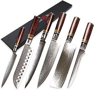 couteau 6 PCS Damas Couteau Set VG10 Japonais Damas Couteaux de cuisine en acier Chef Utilitaire Santoku Nakiri Tranking O...