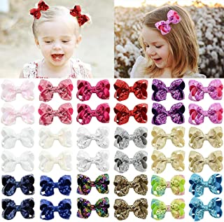 """"""" Sequin Bow Baby Girls 40PCS Glitter Party Favors Sparkling Big Hair Bows Alligator Hair Clips for Girls Baby Toddlers Children"""