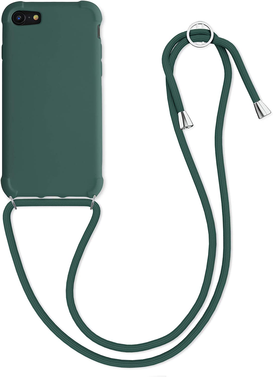 kwmobile Case Compatible with Apple iPhone 7/8 / SE (2020) - Crossbody Case Soft Matte TPU Phone Holder with Neck Strap - Dark Green