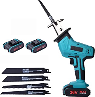 Reciprocating Saw,Cordless Reciprocating Saws 36V Cordless Saw with 2 X 2000mAh Batteries, Variable Speed Electric Saw, 4 ...