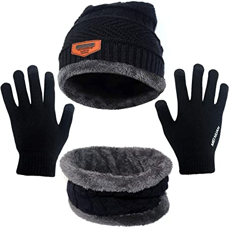ZoomSky Winter Warm Knitted Beanie Hat Scarf for Unisex Men Women Teens Outdoor Sport Skiing Snowboarding Cycling