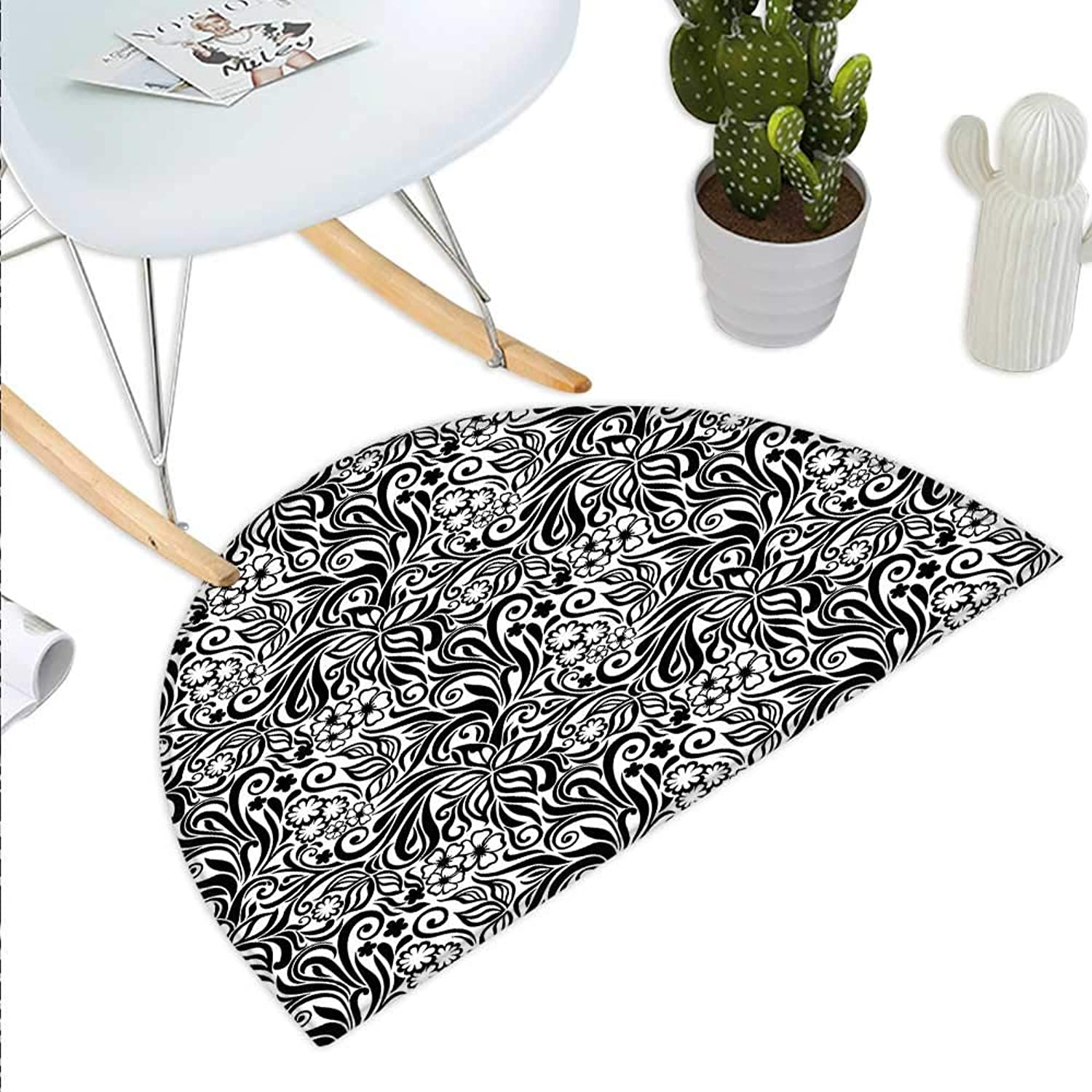 Black and White Semicircle Doormat Western Scroll Pattern Design with Classical Cheery Flourishing Blossoms Halfmoon doormats H 43.3  xD 64.9  Black White