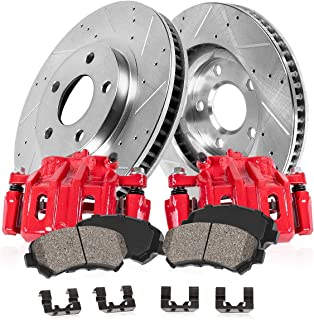 Callahan CCK05249 [2] FRONT Performance Red Brake Calipers + [2] Drilled/Slotted Rotors + Ceramic Pads + Hardware
